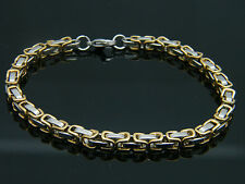 MEN'S WOMEN'S CHUNKY LINK CHAIN BYZANTINE STAINLESS STEEL BRACELET GOLD/SILVER 1