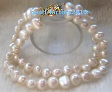 baroque 8-9MM  SOUTH SEA GENUINE WHITE PEARL BRACELET 14K GOLD CLASP