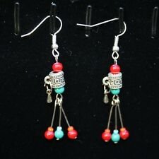 Tibetan Turquoise Coral OM Mani Spin Prayer Wheel Three Dangle Amulet Earrings