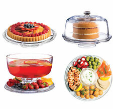 Multi Use Serving Set Glass Cake Stand Punch Salad Bowl Dip Nibbles Server Plate