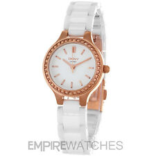 *NEW* DKNY LADIES CHAMBERS WHITE CERAMIC ROSE GOLD WATCH NY2251 - RRP £185.00