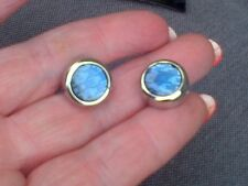 DENISON BOSTON CUFFLINKS  BRAND NEW GENUINE  BLUE ROUND