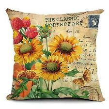 Yellow Sun Flower Home Decor Zip Cotton Linen Cushion Cover Pillowcase 45cm