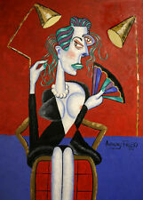 THE FASHION QUEEN ORIGINAL PAINTING LADY WOMAN IN RED CUBISM ANTHONY FALBO