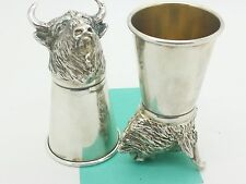 Antique Novelty Large No Sterling 900 Silver 84 Bull Head Stirrup Shot-Glass Cup