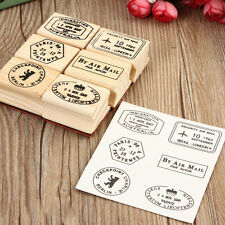 6pcs Korean Vintage Travel Wooden Rubber Stamp Scrapbooking Diary Postcard DIY