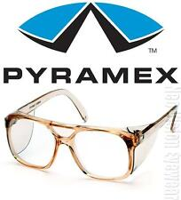 Pyramex Monitor Clear Lens Caramel Retro Aviator Safety Glasses Side Shield Z87+