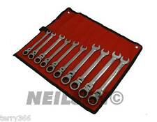 10pc METRIC Flex-head combination ratchet spanner set NEILSEN PROFESSIONAL TOOLS
