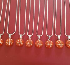 8 x Basketball Necklaces Silver Plated Juzii Charm Pendant and Chain