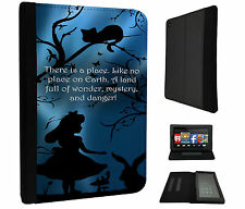 628 Alice in Wonderland Cat Quote Case Flip Cover For Kindle Fire 7'' 2015
