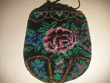 Antique Floral Crochet Micro Bead beaded purse roses