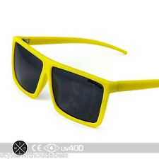 Matte Yellow Square Aviator Sunglasses Flat Top Frame Shades Smoke Lens S209