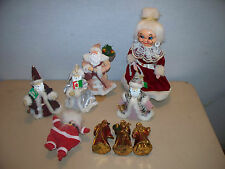 Vintage lot of Santa ornaments,Christmas,flocked Santa,Mrs. claus and others