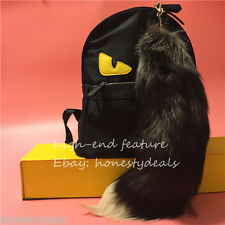 "16"" Black w White tip Genuine Fox Tail Fur Leather Tassel Keychain bag Charm"