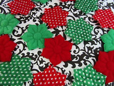 40 Red & Green Holiday Christmas Felt/Satin Dot Holly Flower Applique/Craft H562
