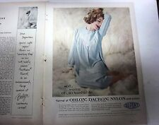 1959 Vintage Womens Light Blue Flannel Gowl Lingerie Redhead Color ad