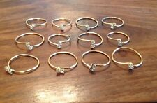 12 x Crystal Clear 2 Stone Ring Adjustable Austrian Rhinestone 18ct Gold Plated