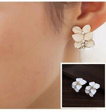 Cute Gardenia Flower Crystal Ear Studs Rhinestone Earrings Ear Hoop Buckle Women
