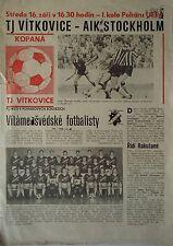 Programm UEFA Cup 1987/88 TJ Vitkovice - AIK Stockholm