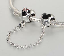MICKEY & MINNIE SAFETY CHAIN 925 Sterling Silver Safety Chain Charm Bead
