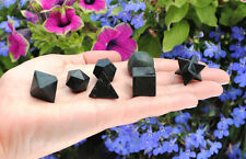 MB5 ~ 7 PCS BLACK TOURMALINE CRYSTAL PLATONIC SOLIDS SACRED GEOMETRY SET