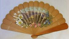 PRETTY PAINTED & PRINTED WOOD AUSTRIAN BRISE FAN~1930s OR40s ?