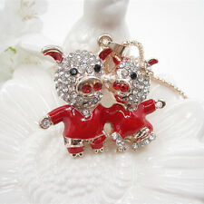 Rose Gold Plated Crystal Two Cute Red Pig Pendant Long Necklace Sweater Chain
