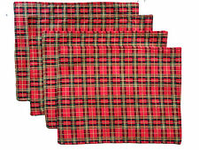 Red and Gold Check Plaid Cotton Set of 4 Table Place Mats
