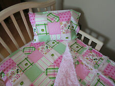 Floral Madras Patch JOHN DEERE Fabric Toddler Bed SET Baby Crib Large Rag Quilt