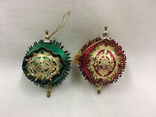 Vintage Assorted Handmade Christmas Ornaments Sequin Beaded Red Green