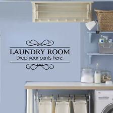 Laundry Room Drop Your Pants Here Wall Art Decal Vinyl Decoration Waterproof DIY