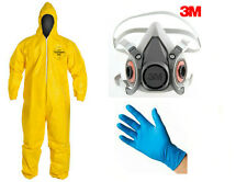 Halloween Breaking ORIGINAL Dupont HAZMAT Yellow Suit 3M Mask Gloves Bad Costume