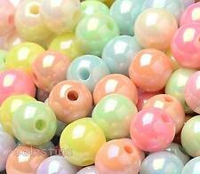 100 Acrylic Mixed Colour AB Beads - Pastel Round Beads - 8mm x 7mm