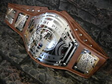 NEW Undisputed Championship Belt Avenger  Aged Brown Leather Adult Metal Plates