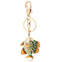 Handbag Buckle Charms Accessories Gold & Green Big Fish Keyrings Key Chains HK63
