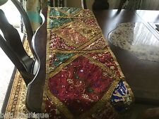 Brown jaipur ethnic Sari patchwork Embroidery Table Runner Decor Tapestry wall