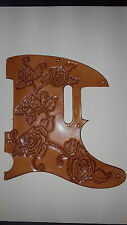 """Leather pick guard Fender Telecaster hand tooled leather """"Harmony of Roses"""" Nat"""