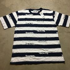 90s VTG NWT Wide NAUTICAL Striped GRUNGE T Shirt SURF Blue L White Lil Yachty