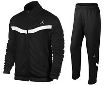 NEW! NIKE AIR JORDAN WARM UP SUIT JACKET + PANTS BLACK WHITE NWT (X-SMALL/SMALL)