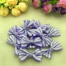 10Pcs Purple Lace Satin Ribbon Webbing BOW Appliques Craft Wedding Decoration