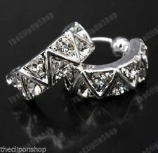 U CLIP ON rhinestone CRYSTAL half hoop HUGGIE studs STUD EARRINGS silver plated
