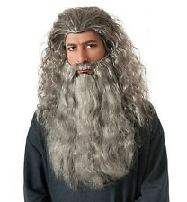 The Hobbit Lord Of the Rings Lotr Gandalf Wizard Sorcerer Grey - Wig And Beard -