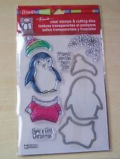STAMPENDOUS - CLEAR STAMPS AND CUTTING DIES - PENGUIN - 9 PIECES
