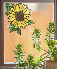 "CLR:WND Sunflower D2 - Window Stained Glass Style Vinyl Decal  ©YYDC(5.5""w x6""h)"