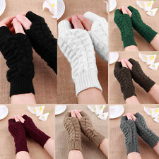 Fashion Unisex Men Women Knitted Fingerless Winter Gloves Soft Warm Mitten Black