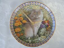 Hand made Cat Plate Wall Clock-Lesley Anne Ivory-Danbury Mint-Cat Among Flowers