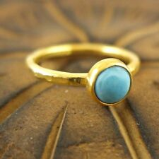Hammered Handmade Turquoise Stack Ring 24K Gold Over 925K Sterling Silver