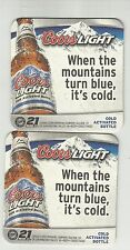 """Lot Of 5  2008 Coors Light Beer Coasters-Golden, Colorado #894 """"Mountains-Blue"""