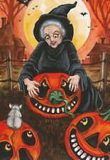 PRINT OF HALLOWEEN PAINTING ACEO RAT RYTA WITCH VINTAGE STYLE FARMHOUSE DECOR