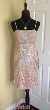 BRAND NEW SUE WONG BEADED SEQUINS COCKTAIL PINK SANDALWOOD EVENING DRESS 8 NWT